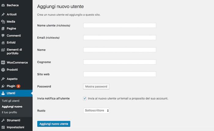 Come creare utenti e ruoli Wordpress